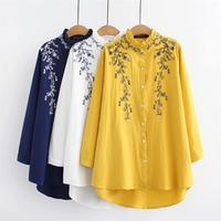 Plus size ruffled collar long sleeve blouses women 2018 Embroidered white & dark blue & yellow shirt Spring & autumn ladies tops
