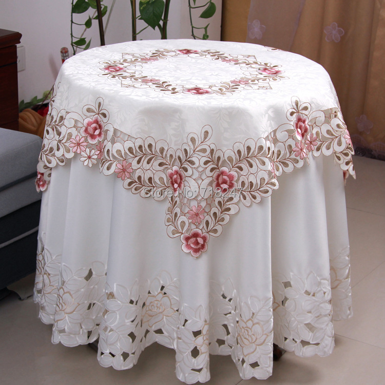 Delightful Vezon Hot Sale Elegant Satin Jacquard Embroidery Floral Tablecloths  Handmade Cutwork Embroidered Table Cloth Cover Overlays In Tablecloths From  Home ...