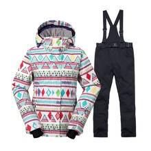 Женская зимняя одежда женский лыжный костюм наборы 10 к водостойкий  ветрозащитный Теплый костюм Сноубординг куртки + 15c569195b7