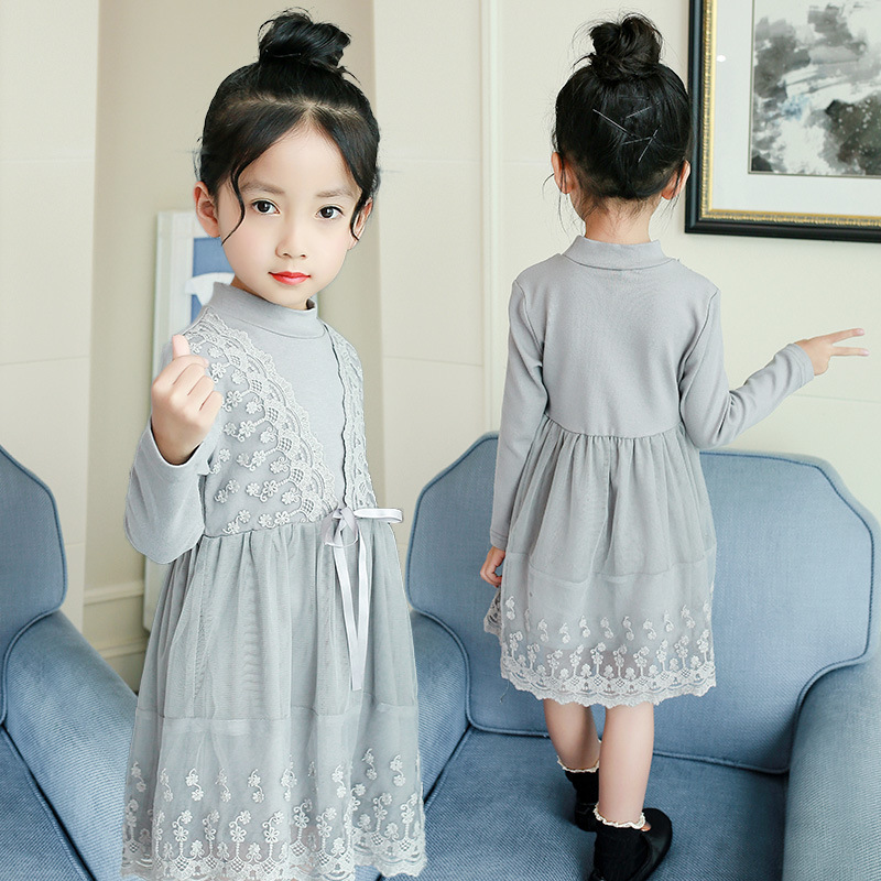 so beautiful good quality 2018 new spring autumn Girls Kids lace dress girl dress comfortable cute baby Children Clothing