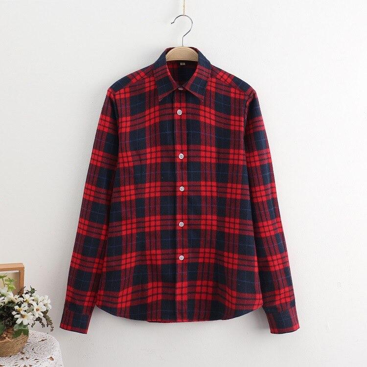2018 Fashion Plaid Shirt Female College Style Women's Blouses Long Sleeve Flannel Shirt Plus Size Casual Blouses Shirts M-5XL 15