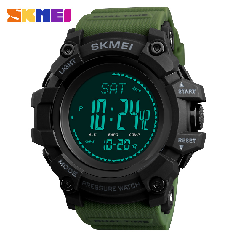 <font><b>SKMEI</b></font> Outdoor Sports Watches Men Compass Temperature Altimeter Digital Wristwatches Waterproof Clock Male relogio masculino <font><b>1358</b></font> image