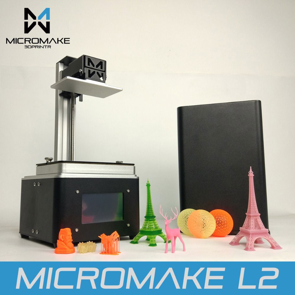 Micromake 2017 L2 UV Resin 3d printer SLADLP 3D Printer with touch screen LCD light-curing High Accuracy