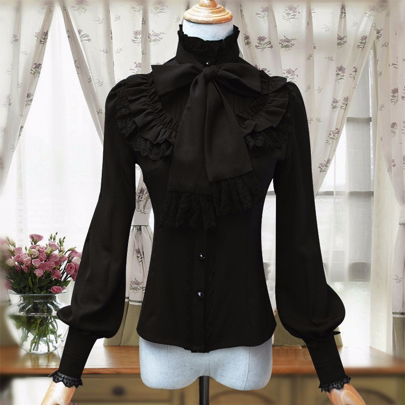 Image 5 - Vintage Women's Lolita Shirt Gothic Chiffon Ruffle Blouse Long Sleeve Blusas Black/White/Navy Blue/Burgundy-in Blouses & Shirts from Women's Clothing