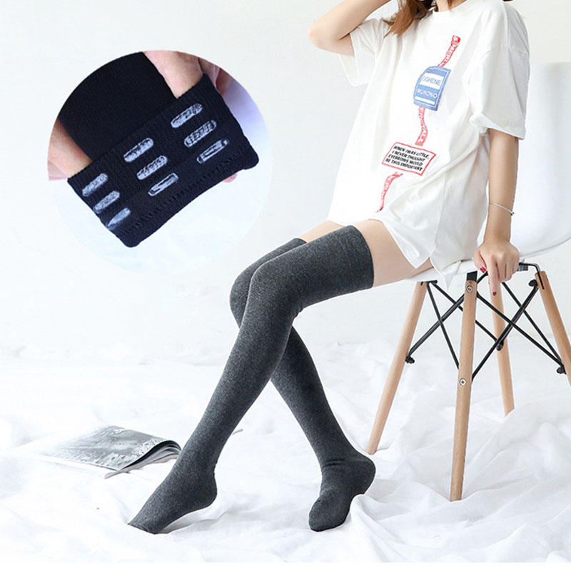 Autumn Winter Plain Flat Cotton Solid Over Knee Stockings Anti-slip Deodorant Silicone Thigh Stockings Basic Style