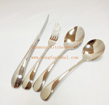 new high quality 18-8 stainless steel spoon fork knife set cultery flatware 4pcs/set