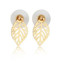ranch Leaf Earrings Stud Earring Gold color Ear Jacket Earings Stainless Steel Earrings For Women Jewelry(China)