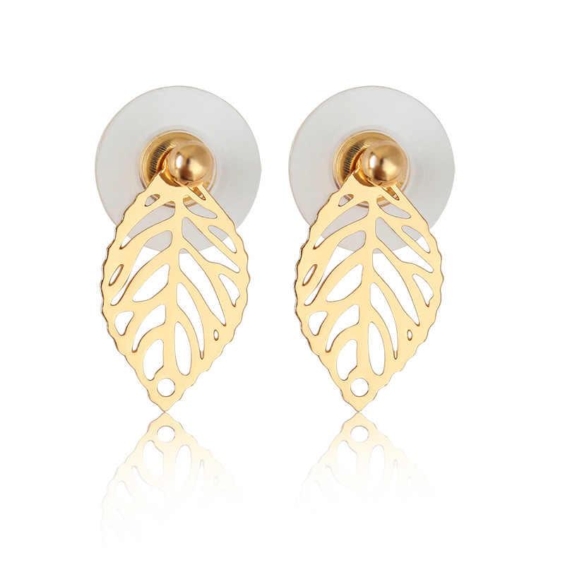 d3327ec7a654 Rancho hoja Pendientes Stud pendiente oro color ear jacket pendientes Acero  inoxidable Pendientes para las mujeres