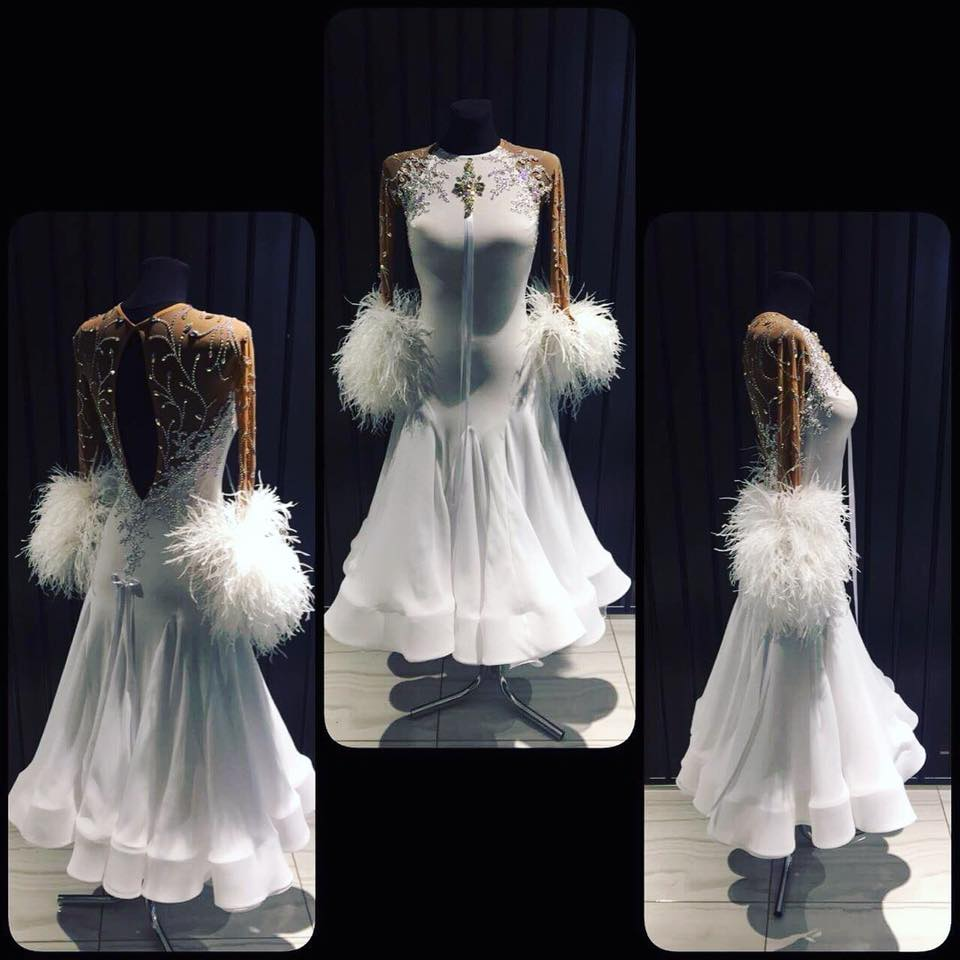 Modern Waltz Tango Ballroom Dance Dress,Smooth Ballroom Dress,Standard Ballroom Dress ,White Feather Long Sleeve Dance Dress