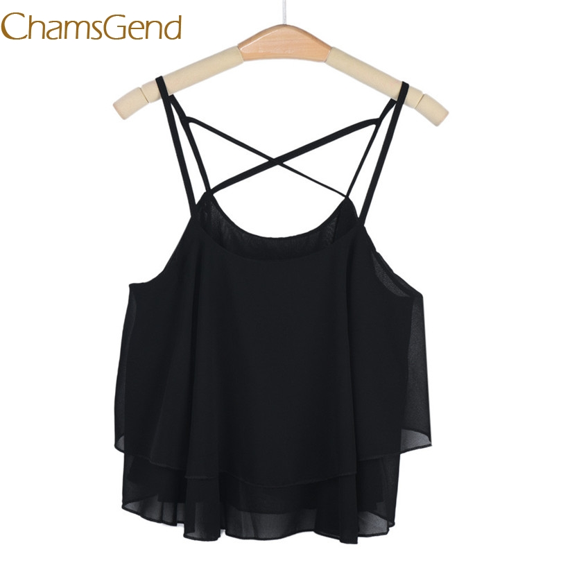 Chamsgend Newly Design Women HOT Beach Short Vest Ruffle Chiffon   Tank     Tops   Camis 160303