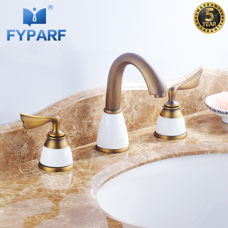 FYPARF Luxury 3 Piece Set Faucet Deck Mounted Sink Tap ...