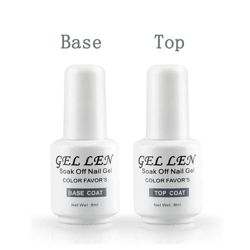Gel Len 8ml Nail Polish Base coat and Top Coat Set 2Pcs Set Soak Off Base Gel Varnish Led UV Long Lasting Top Coat Gel Lacquer