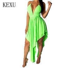 KEXU Summer Elegant Lace Up Backless Halter Bandage Dress Deep V Neck Sleeveless Sexy Asymmetrical Party Night Club Dresses