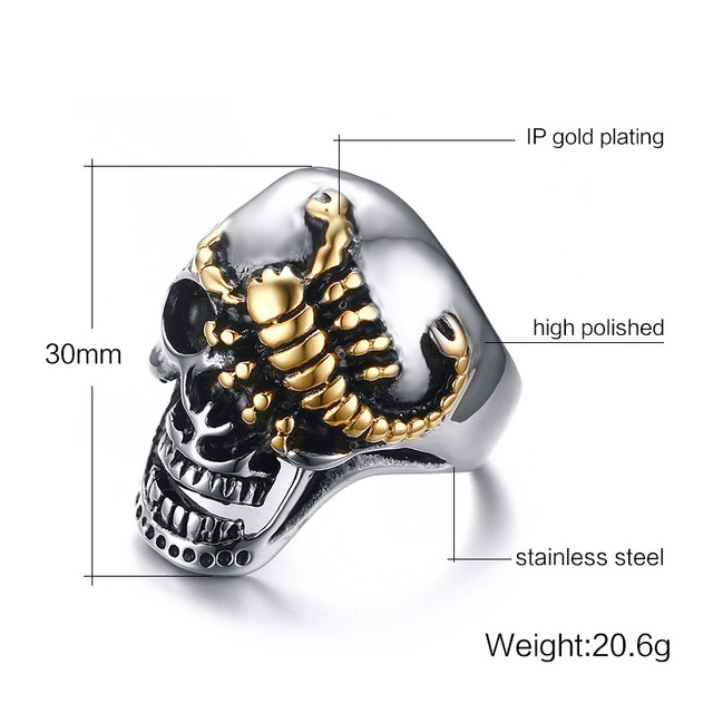 Men's Skull Bone Biker Rings Punk Scorpion Stainless Steel Male Retro Punk Rings