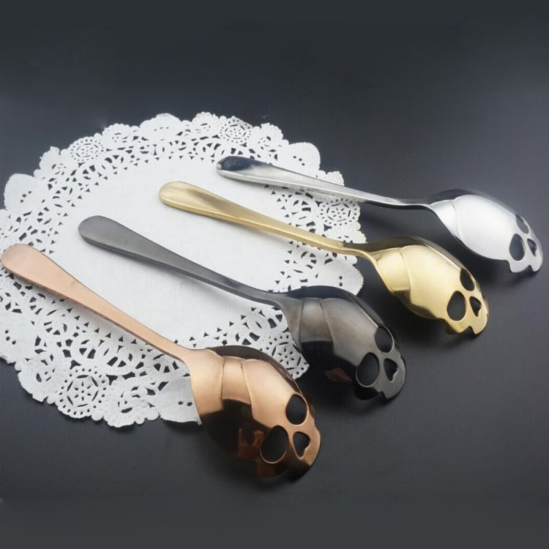 Stainless Steel Skull Designed Sugar Spoon Tea And Coffee Stirring Spoons Coffee Dessert Spoon Kitchen Bar Supplies