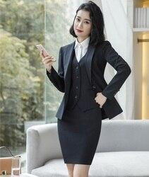 Формальная Униформа Deigns женские деловые костюмы с куртками пальто и юбка и жилет пальто и жилет наборы OL стили осень зима