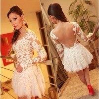 2018 арабский Дизайн декольте Милая Sheer Вернуться с длинным рукавом кружева короткое платье подружки невесты платья