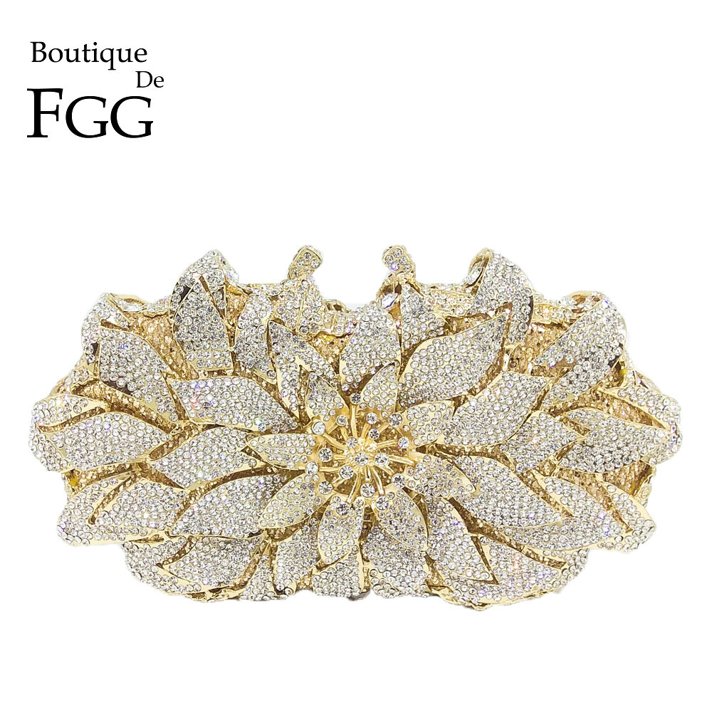 Boutique De FGG Dazzling Crystal Women Evening Metal Clutches Bag Hardcase Wedding Party Flower Bridal Handbag Clutch Purse