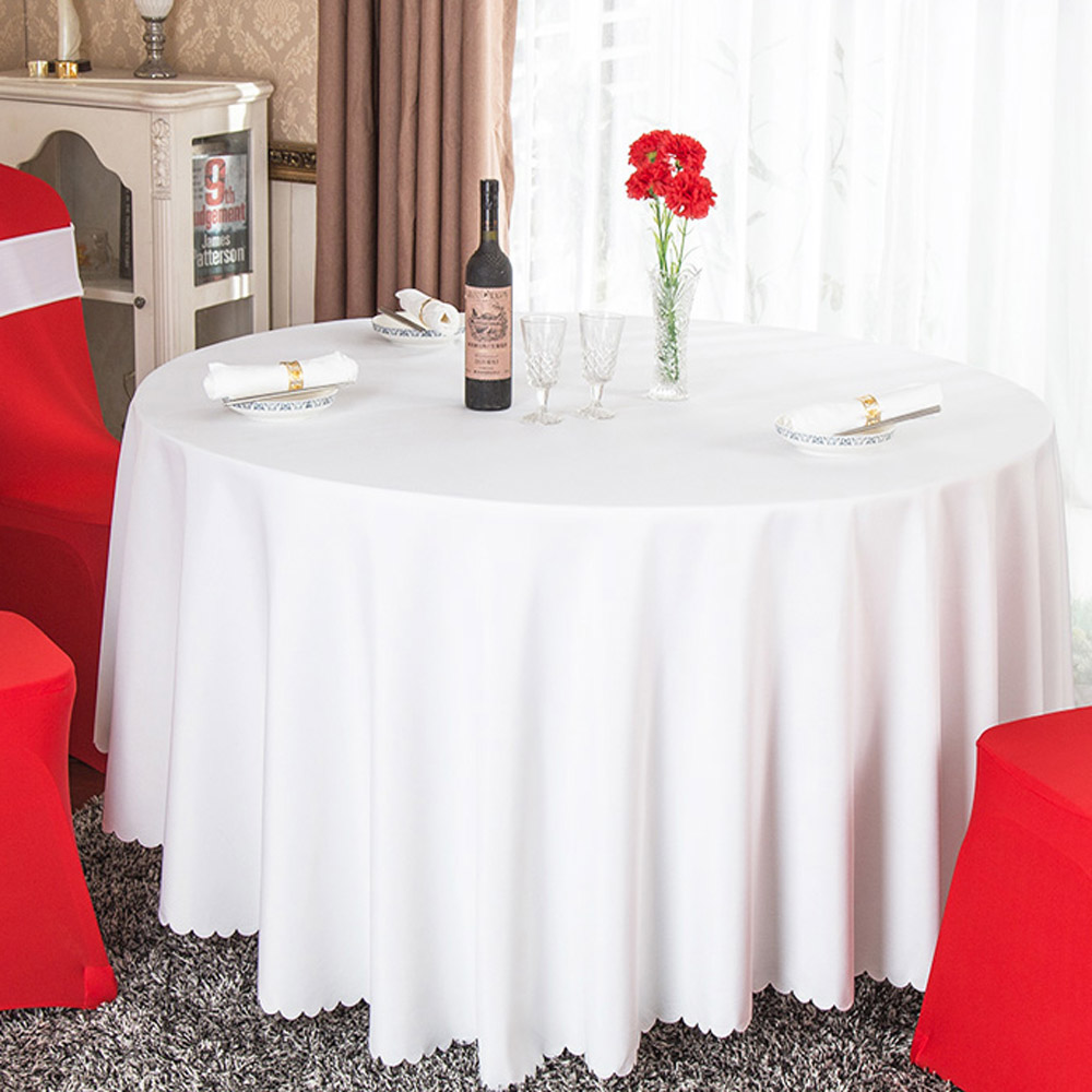 Hot 1pc White Black Red Solid Plain Polyester Tablecloth Round For Hotel Banquet Wedding Party Decoration Restaurant Table Cloth In Tablecloths From Home