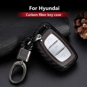 Image 1 - 2019 New Carbon Fiber Silica gel Key Cover Case For Hyundai Elantra Tucson Mistra Verna Sonata IX25 IX35 Car keychain keyring