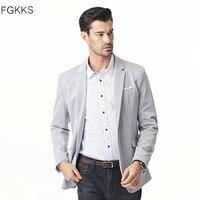 FGKKS New Arrival Casual Men Blazers Male Classic Suit Jacket Coat Single Button Cotton Spring Autumn