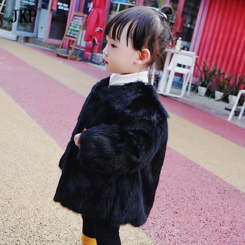 Winter 2018 Children Real Rabbit Fur Coat Baby Short Warm Whole Natural Rabbit Fur Coat High-quality Clothes Kids Jacket 2017 winter new clothes to overcome the coat of women in the long reed rabbit hair fur fur coat fox raccoon fur collar