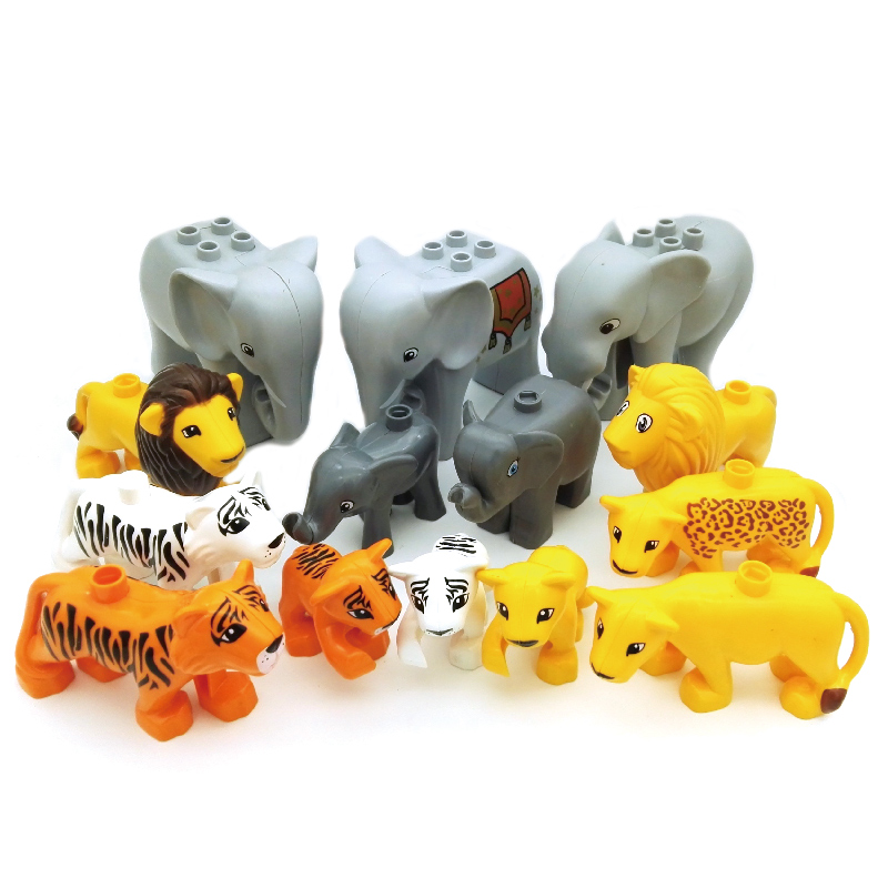 Animals Zoo Elephant Lion Tiger Big Particles Building Blocks accessory BABY DIY Toys Set Brick Compatible with Duplo Child Gift