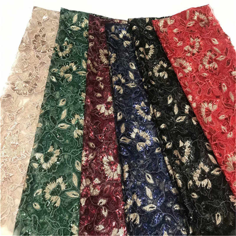 High Quality African Lace Fabrics Gold Color sequins African Mesh Cord Lace Factory Price Guipure Lace Fabrics For Wedding red