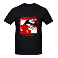OKOUFEN Fashion funny casual Man Tops Metallica Kill Em All Young Men Tee Shirt Black Cotton Tee Shirts Short-sleeve Designer