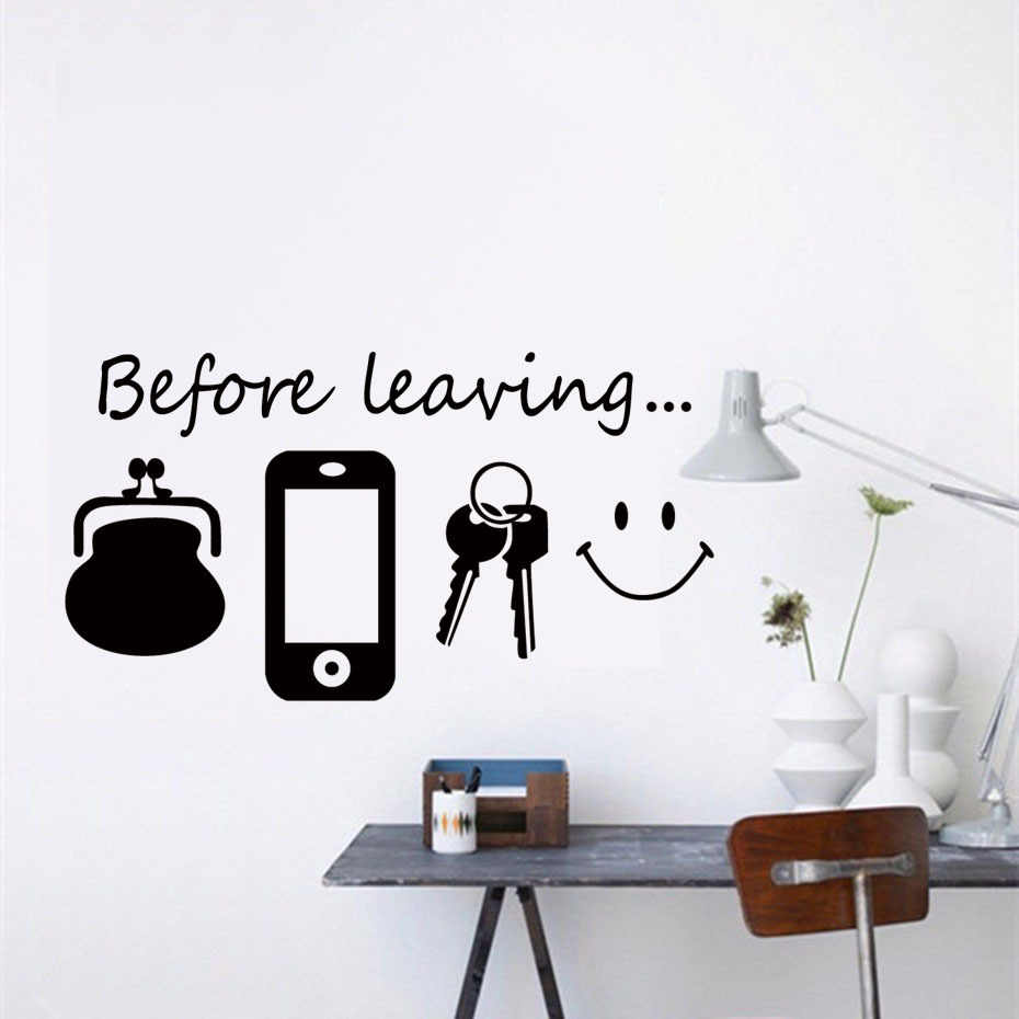 Before Leaving Reminder Quotes Vinyl Wall Stickers For Bedroom Living Room Wall Art Door Decals Self Adhesive Modern Wallpaper