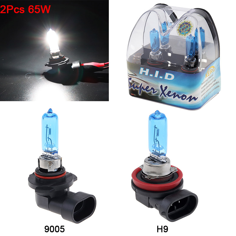 2Pcs 9005 /H9 Halogen Lamp 12V 65W 6000K Car Halogen Bulb White Light Super Bright Auto Xenon Lamp Front Headlight Fog Bulb