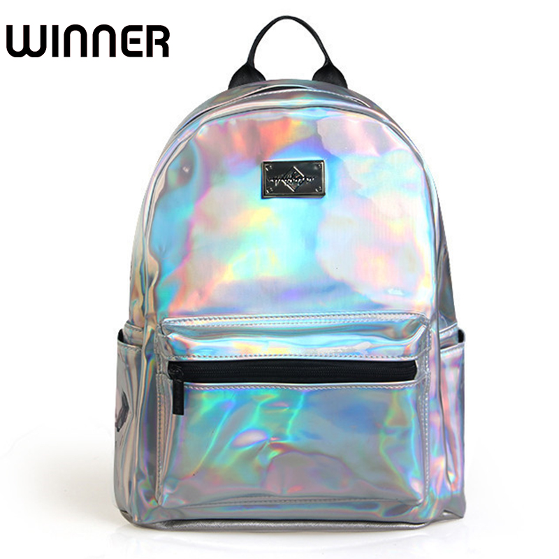 Brand Fashion Holographic School Backpack Women Backbag Lady PU Leather Small Backpack Silver Bagpack Travel цена