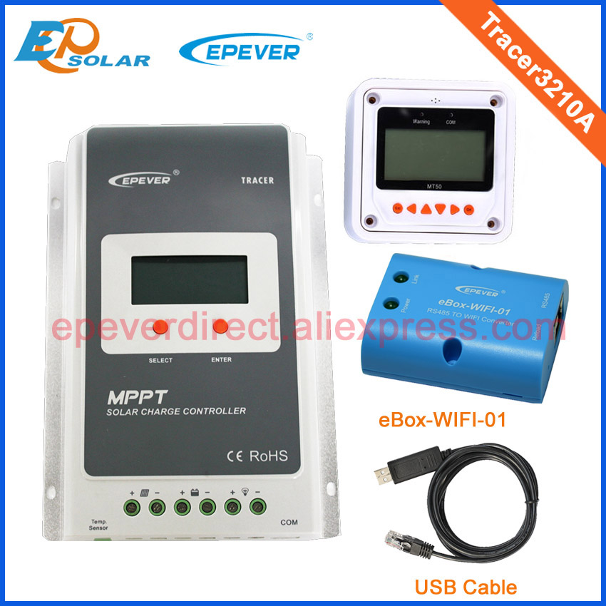 30A 12V/24V MPPT Solar Panel Battery Regulator Charge Controller with MT50 USB and wifi function Tracer 3210A mppt 10a solar charge controller epever10a mppt solar controller 150v pv battery panel regulator 12v 24vdc aotu solar charger