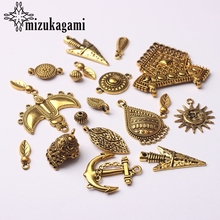 Retro Zinc Alloy Golden Charms 1 Pack/lot Random Mixed Charms Connector For DIY Earrings Jewelry Making Accessories