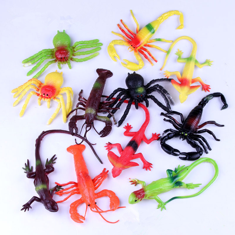 Colorful TPR Simulation Spider Lizard Scorpion Insects Model Toys Prank Tricky Scary Toys Halloween Props Children's Model Toys