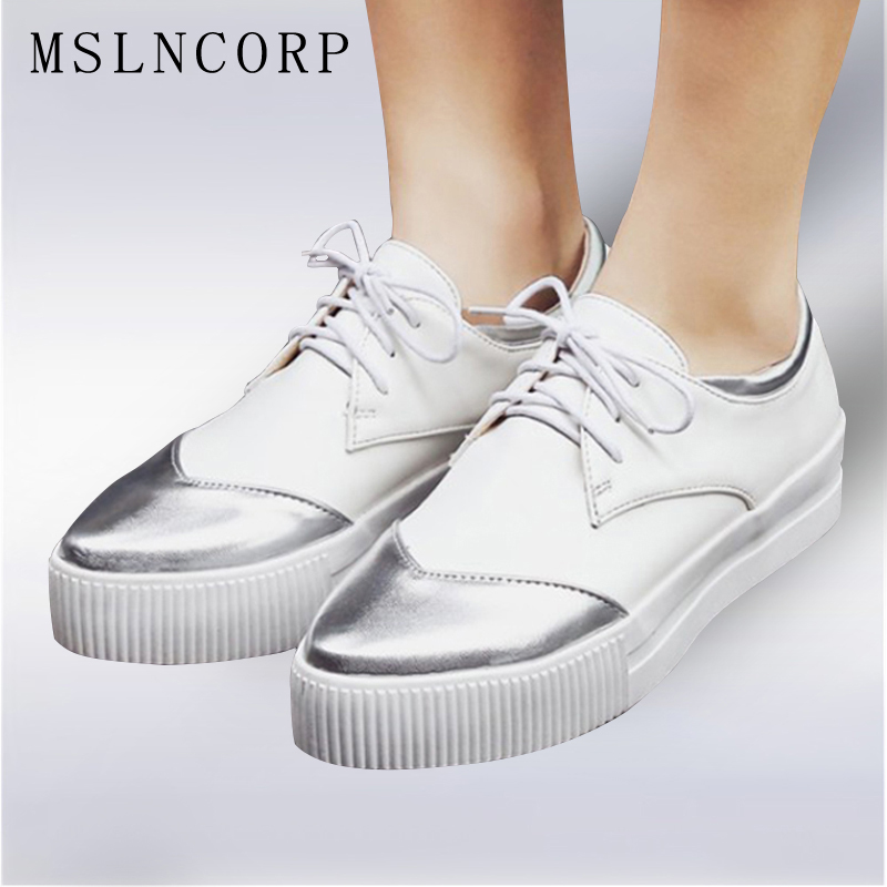 Plus Size Fashion 34-43 New Spring Autumn Comfort Flat Shoes Platform Sneakers Lace Up Womes Footwear High Quality Casual Shoes fabrecandy new spring autumn men casual shoes fashion breathable flat men shoes sneakers pu leather waterproof plus size 37 47