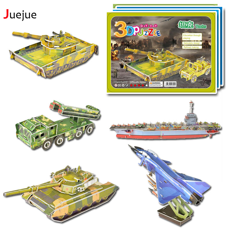 DIY 3D Paper Armaments Fighter Helicopters Space Shuttle Puzzles Toys Model Craft Kits Gifts for Kids