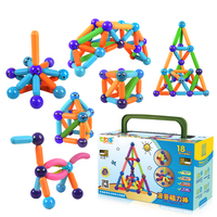 Kidsrun Kids Bars Metal Balls Magnet Toy 25PCS Plastic Magnetic Building Block Construction Toys For Children DIY Bricks