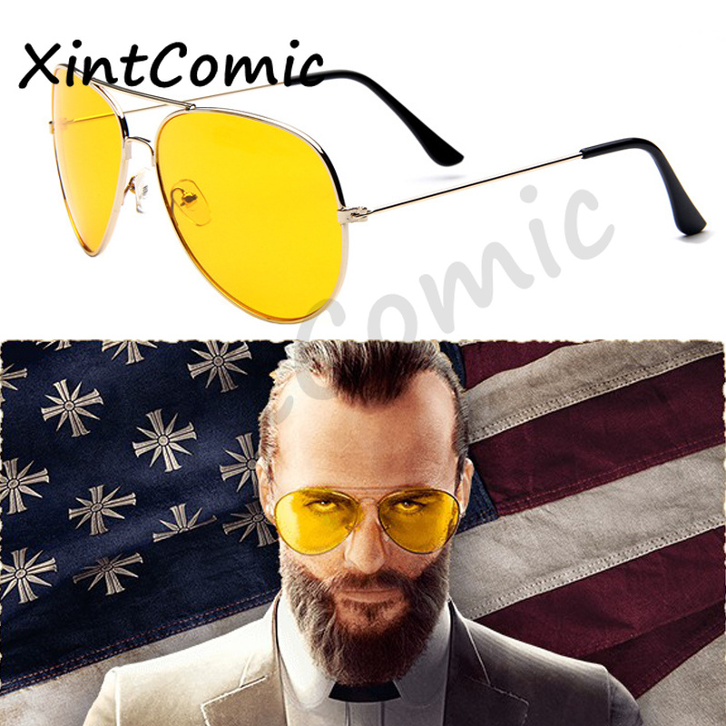 Game FAR CRY 5 Cosplay Unisex Prop Sunglasses Joseph Seed Eyewear Yellow Accessories Driver glasses