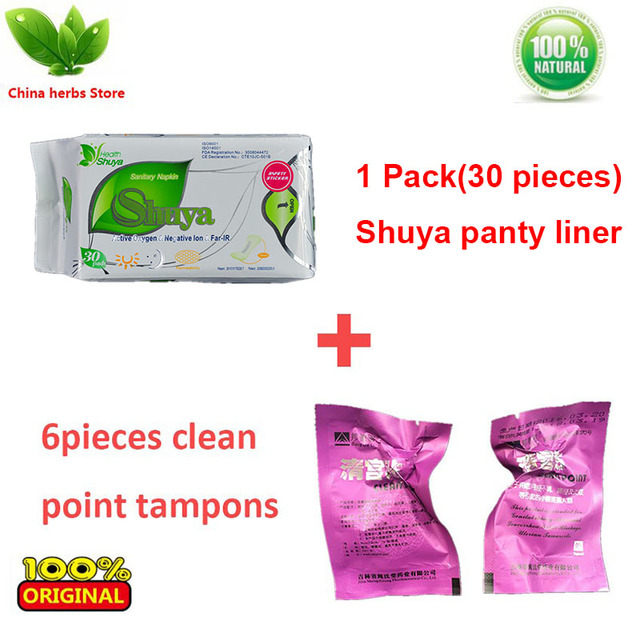 1 pack(30 pieces) ShuYa Lovemoon Anion Sanitary napkin +6 pieces beautiful life tampons female vaginal repair herbal tampons