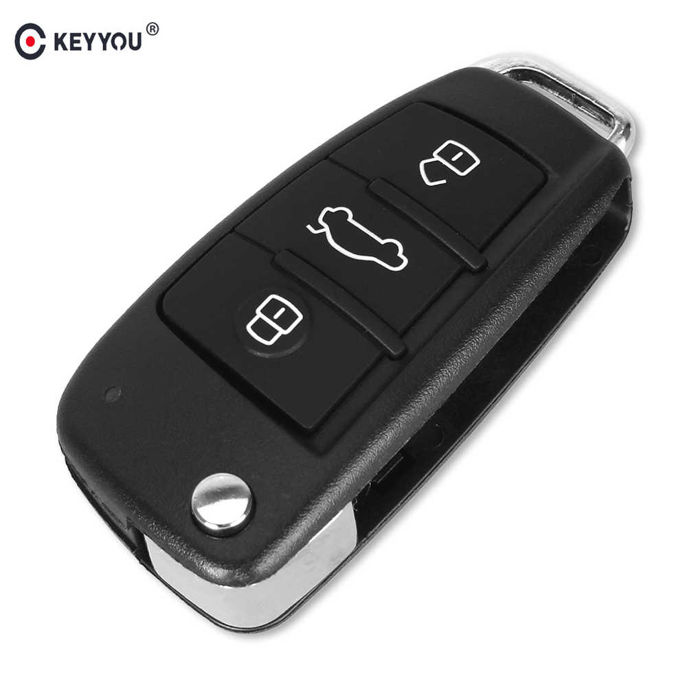 KEYYOU Folding Flip Remote Car Key Shell Case 3 Button Case For AUDI A6 For VW For Pasha for Bora for Skoda For Seat No Blade