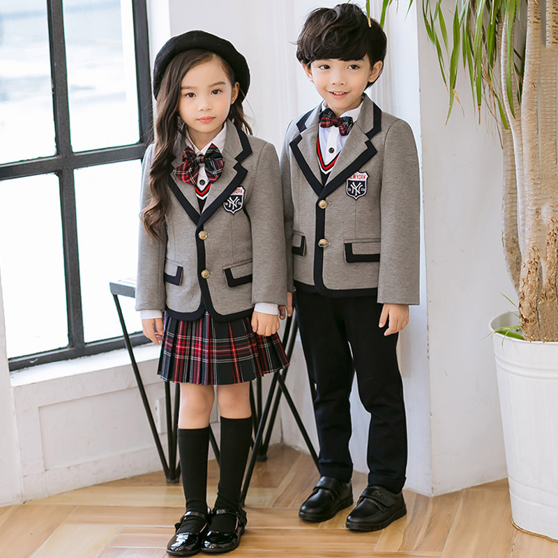 Boys And Girls Kindergarten British Style Children's Class Service Autumn And Winter Primary School Uniforms Three-piece Suit