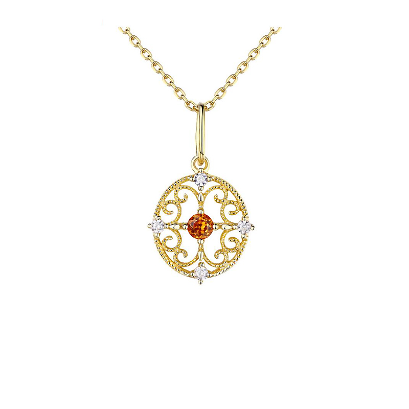Ruifan Luxury Gemstone Natural Fanta Garnet Stone Necklace Sterling Silver Necklace 925 Gold Statement Pendant Necklaces YNC084 fanta