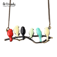 Artilady new lovely bird on branch necklace fashion pendant women necklace jewelry NM