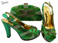 Most popular green party sets series African sandal shoes with handbag set with rhinestones JZS-03  many color