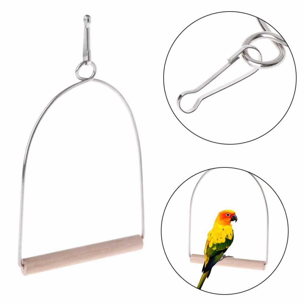 New Natural Wooden Birds Parrots Perch Stand Hanging Swing Cage Accessories Toys Stand Holder Pendant Bird Supplies C42