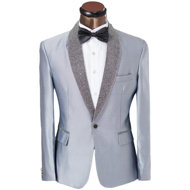 Personalizado ternos w / calças laço elegante cinza brilhante prata lapela Prom smoking ternos para homens noivo ternos de casamento padrinho de casamento 6XL