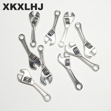 XKXLHJ 15pcs Charms spanner wrench tool 24*7mm Tibetan Silver Plated Pendants Antique Jewelry Making DIY Handmade Craft xkxlhj 15pcs charms kitchen knife tool 23 9mm tibetan silver plated pendants antique jewelry making diy handmade craft