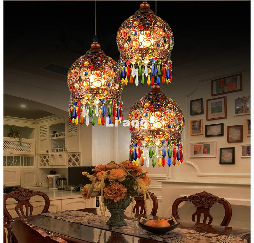 Бесплатная доставка античный красный цвет Хрустальные подвесные лампы освещение богемный стиль полукруглый Железный Потолочный подвесно