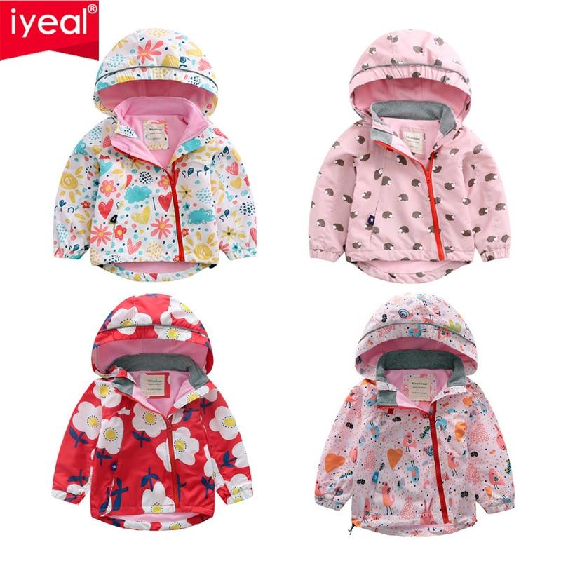 Iyeal Kid Baby Girls Printed Outerwear Fleece Lining Windbreaker Waterproof Raincoat Children Girl Hooded Jackets Coat 2 8 Years